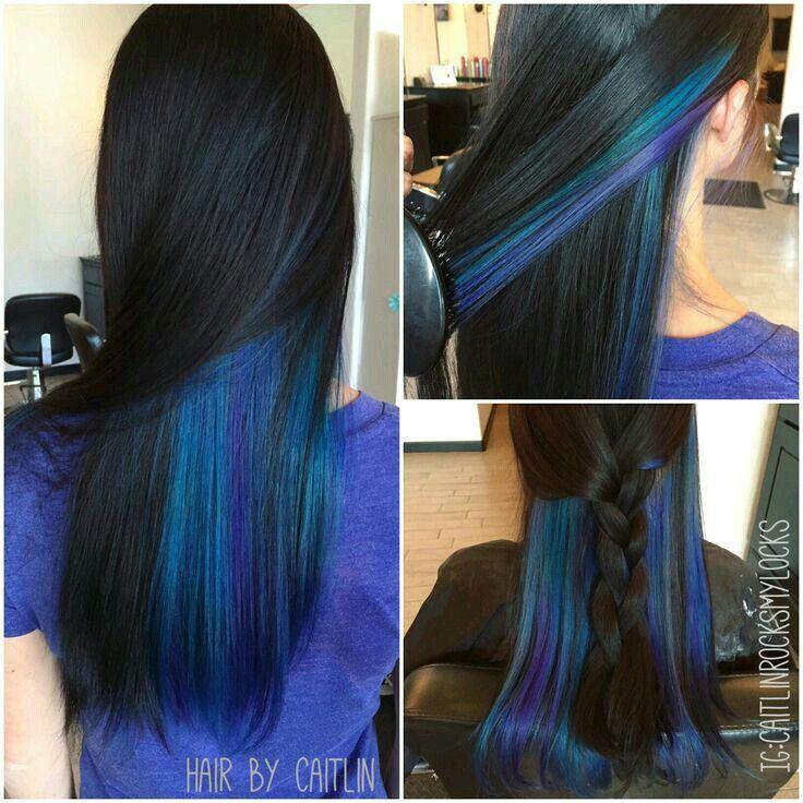Bright Colors Are Underneath Brunette Hair Color Hair Streaks