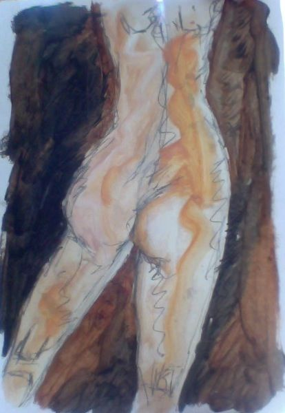 Nude; oil paint and pencil on paper; 8x11""