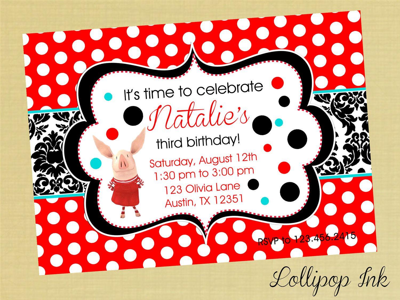 Olivia the Pig Birthday Invitation, Olivia the Pig Personalized ...