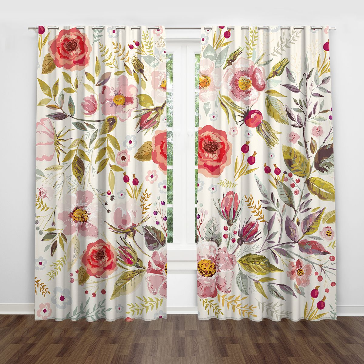 Floral Watercolor Leaf Pink Red Flower Botanical Window Curtain
