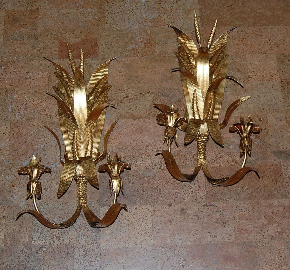 Pair Italian Gilt Tole Two Light Candle Sconces Wheat ... on Non Electric Wall Sconce Lights id=71627