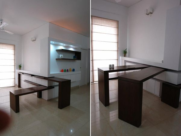 This Amazing Retractable Dining Table Was Conceived By Ochre Architects The Is Divided In Several Parts That Can Be Used Separately Or Together For