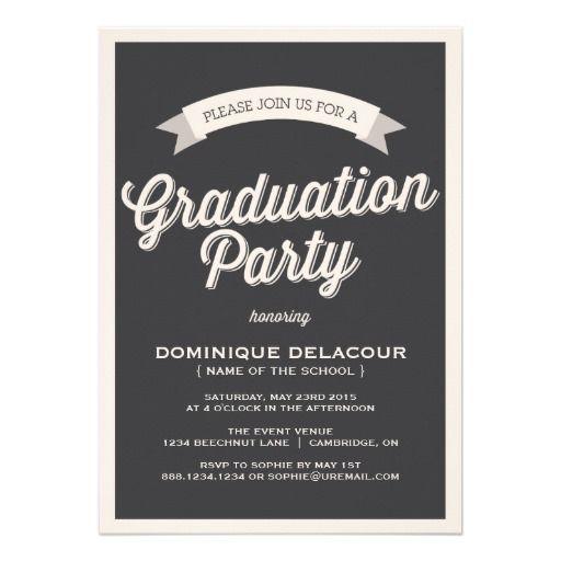 Gray Retro Typography Graduation Party Invitation 1 90