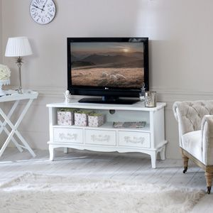 Best Antique White Tv Cabinet With Drawers Pays Blanc Range 400 x 300