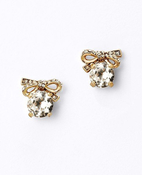 pave bow stud earrings / ann taylor
