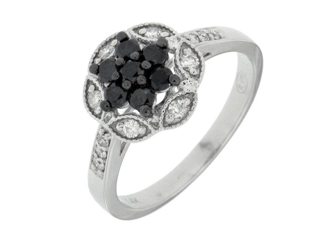 14K White Gold with Black and White Diamonds