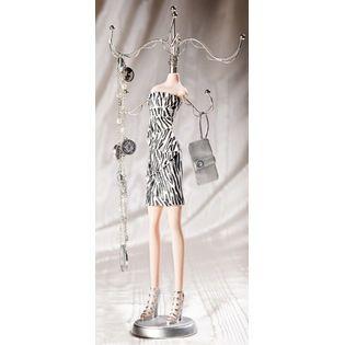 Tammys Closet Mannequin Jewelry Stand Organizer Zebra Orgami