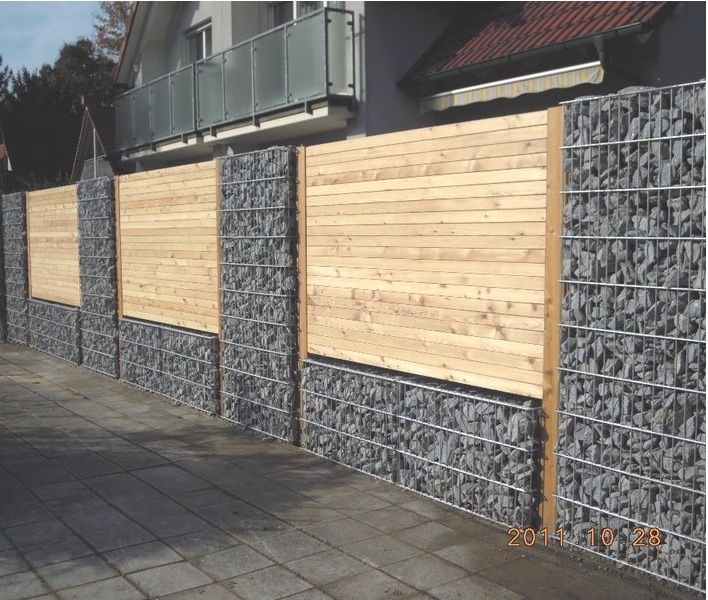 gabion wall with timber fence panels yard garden pinterest. Black Bedroom Furniture Sets. Home Design Ideas