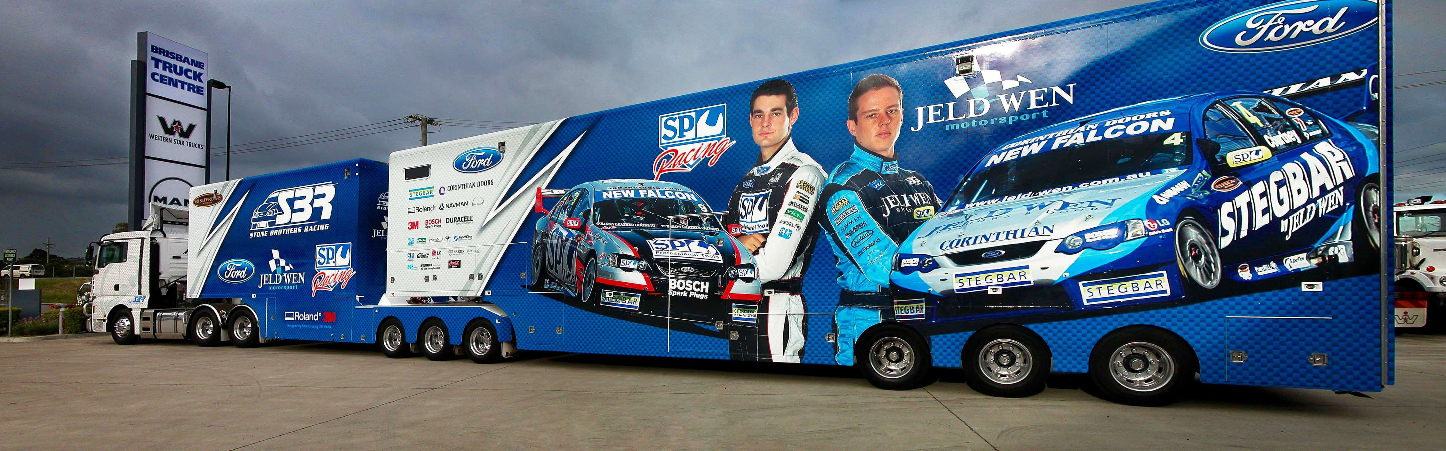 Ford Transporter Hauler Jeld Wen Stone Brothers Racing Super Cars V8 Supercars Race Cars