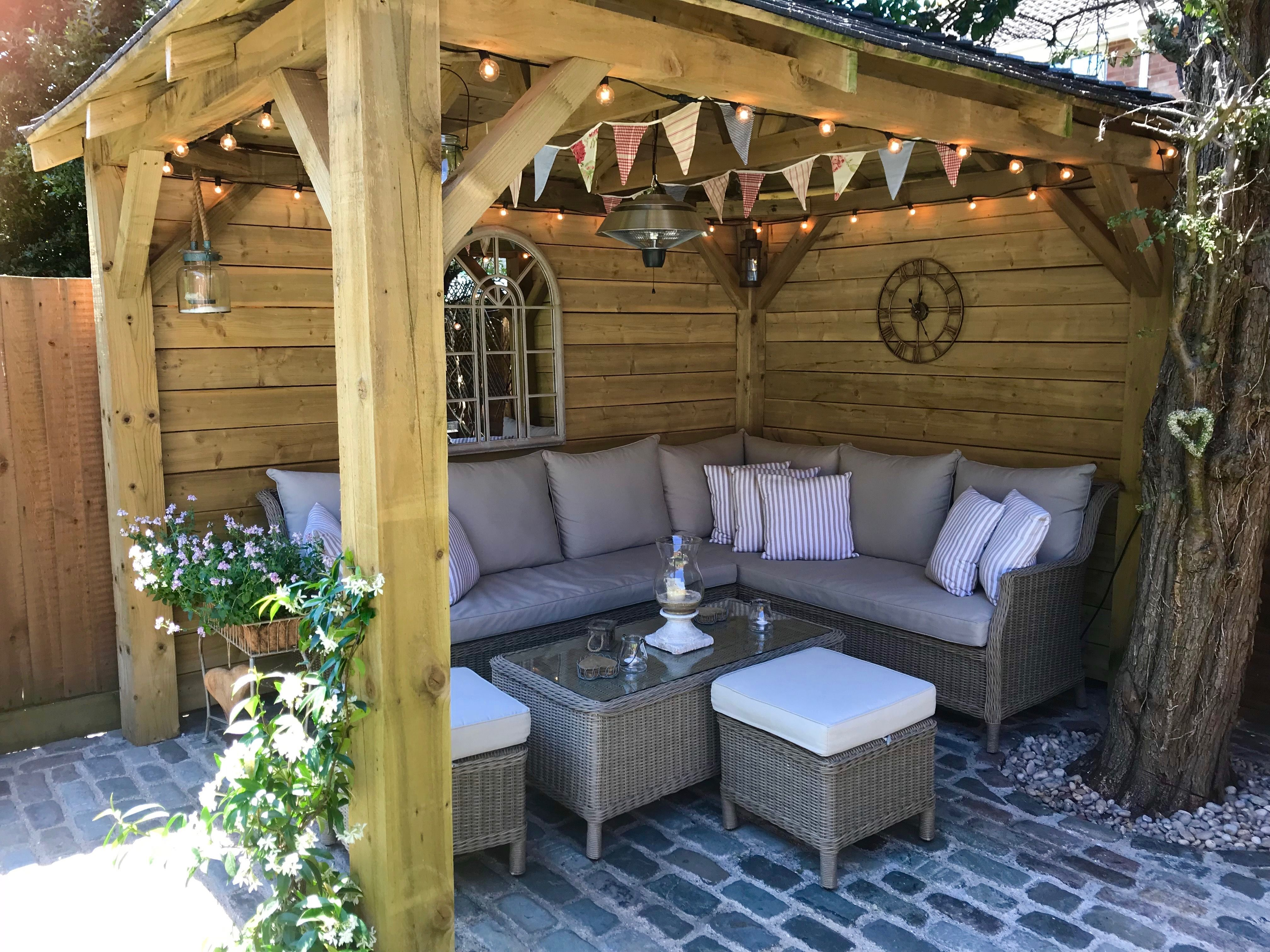 Cottage Garden Gazebo Homemade Bunting Outdoor Seating Outdoor Lighting Cobbles Eclecticandrusti Garden Seating Area Outdoor Seating Areas Garden Seating