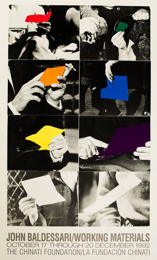 John Baldessari Working Materials Exhibition Poster The Chianti Foundation 1992 Lithograph On Paper Signed And John Baldessari Exhibition Poster Sign Poster