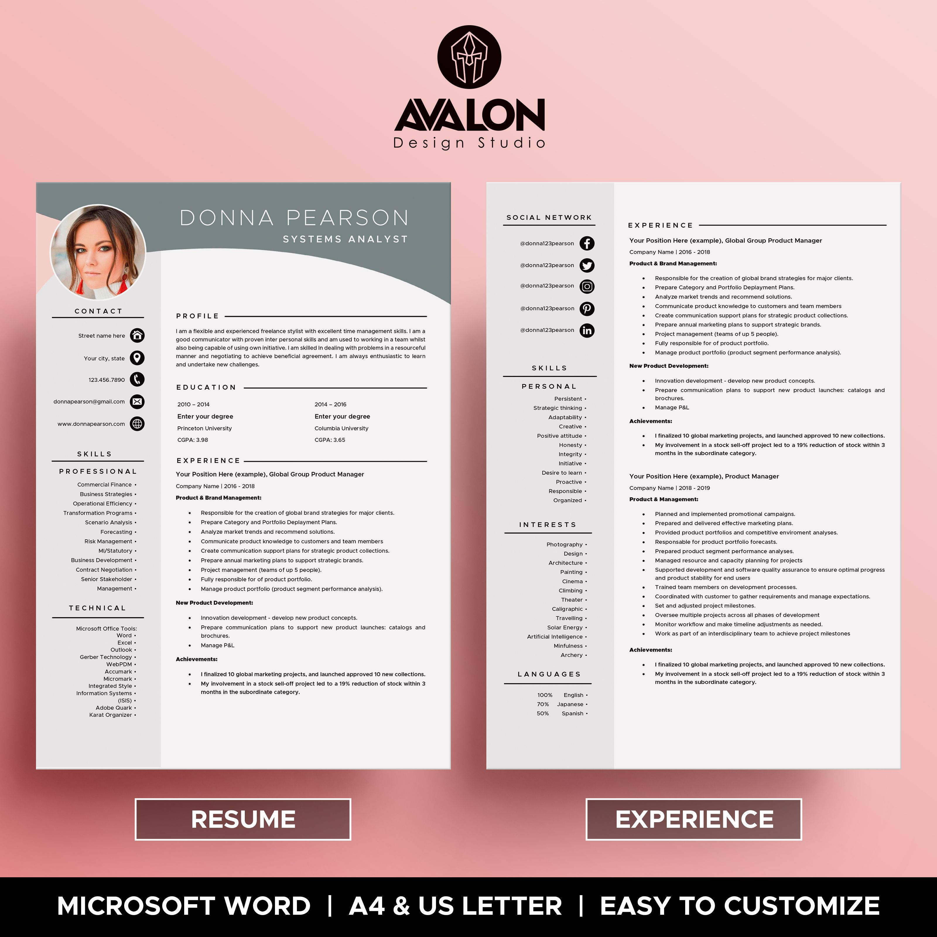 Professional Resume Template For Microsoft Word 4 Pages Creative Cv Template Instant Do Resume Template Creative Cv Template Resume Template Professional