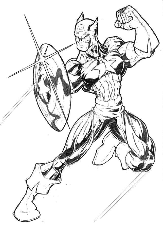 The Avenger Captain America Coloring Page | Art | Pinterest | Capt ...