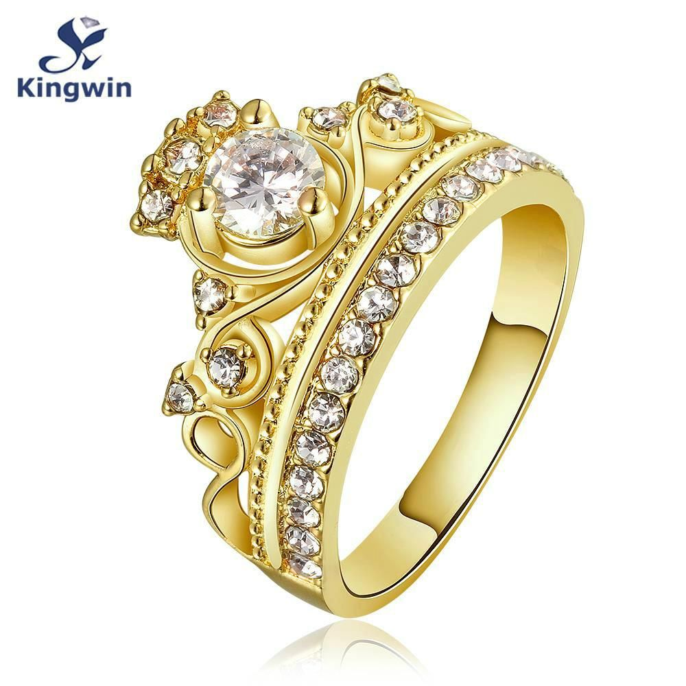 Kingwin New Design Crown Ring For Women Cz Pure Gold Color Queen