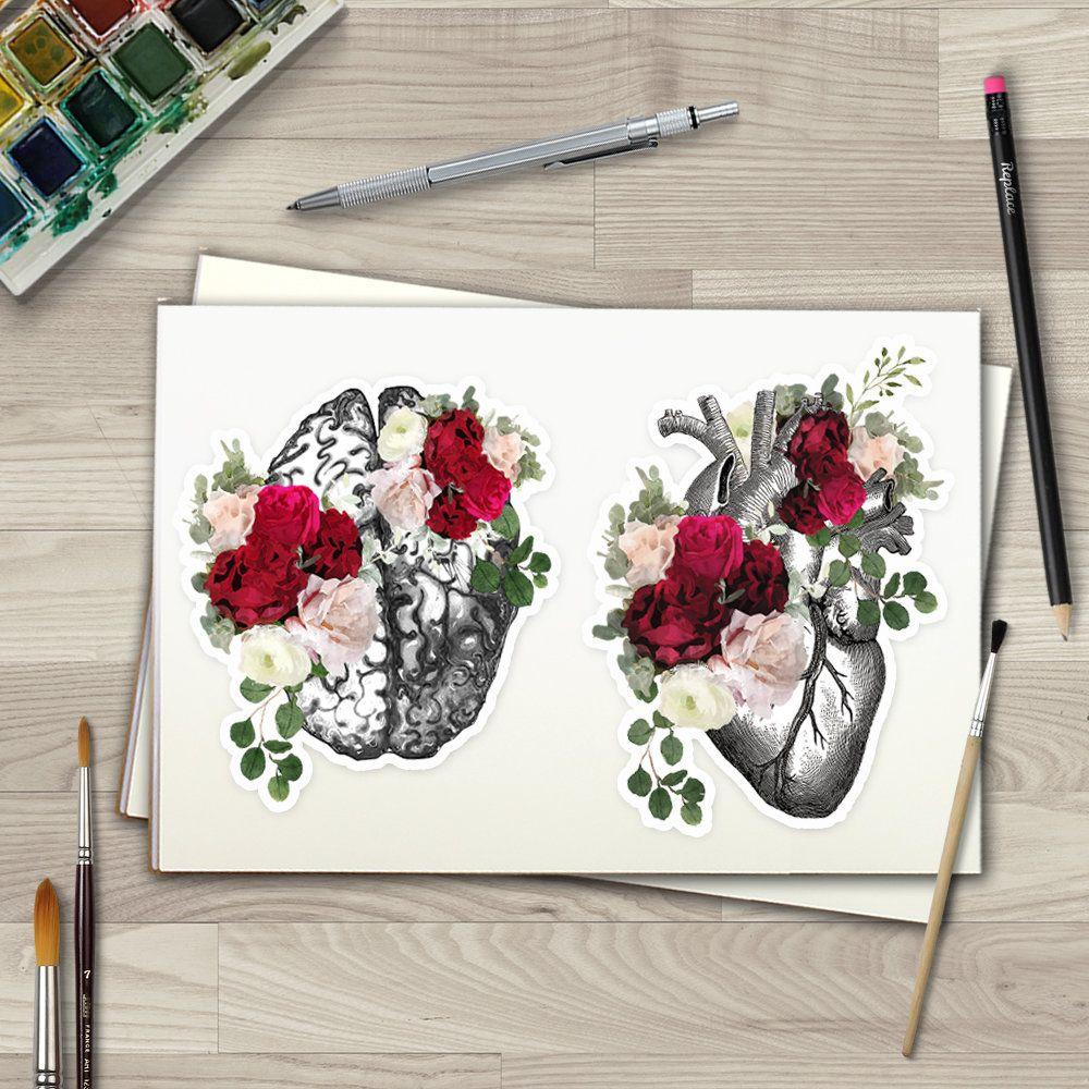 Spring Floral Human Heart Brain Roses Watercolor Matt Vinyl