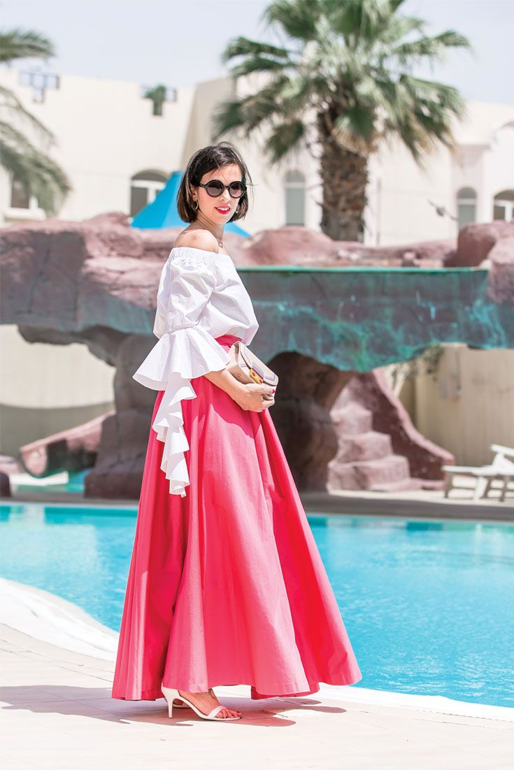 Bonjour chiara wears kocca pink maxi skirt storets ruffle top