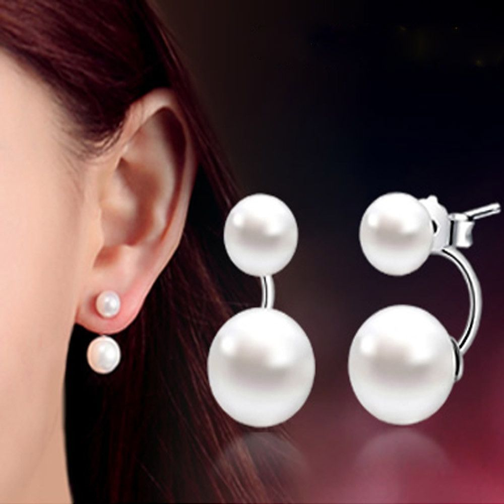 c6a4e5d6b Fashion High Quality 925 Sterling Silver Double Sided Shell Pearl Stud  Earrings Jewelry Long Earrings For Women Ear Jewelry Gift. Earring ...