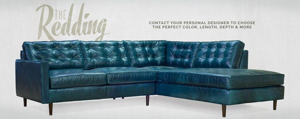 Model Of Custom Made Furniture in Lambertville NJ Redding Blue Leather Mid Century Sectional Simple - Awesome custom leather sofas Picture