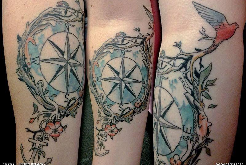 Compass watercolor tattoo artists tatouages boussole