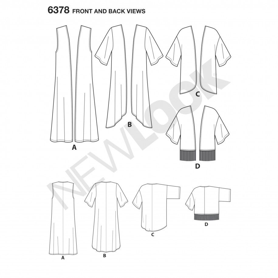 New look womenus easy kimonos with length variations sewing