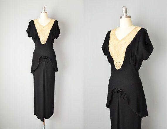 robe vintage des ann es 30 1930 s noir en cr pe et. Black Bedroom Furniture Sets. Home Design Ideas