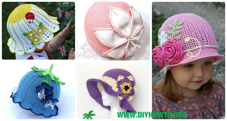 A Collection of Crochet Girls Sun Hat Free Patterns & Instructions ...