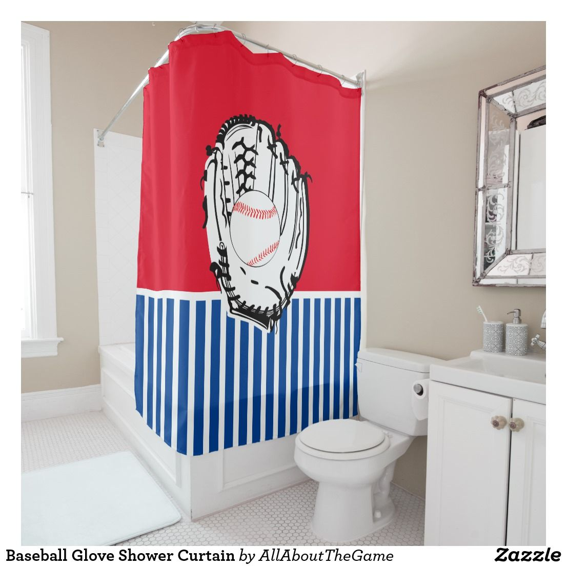 Baseball Glove Shower Curtain Zazzle Com In 2020 Baseball