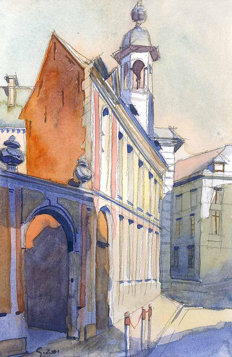 Aquarelle Portail Athenee Royal De Mons Ancienne Chapelle Mons