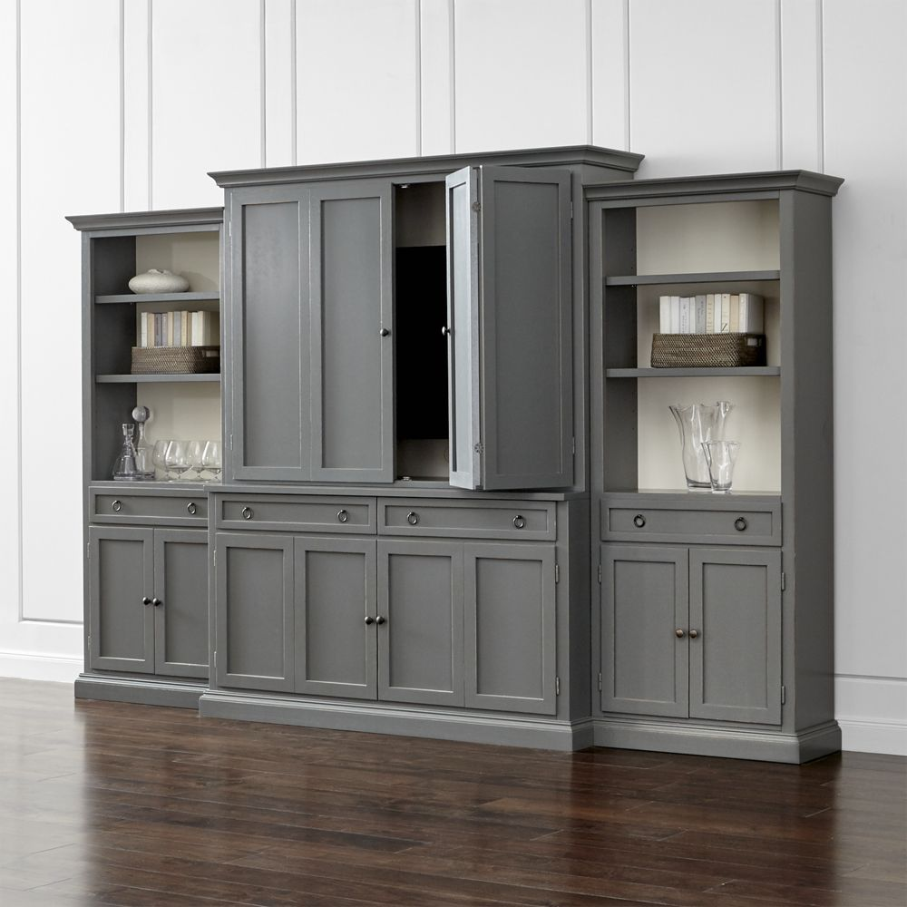 Cameo 4 piece grey storage bookcase entertainment center crate and barrel