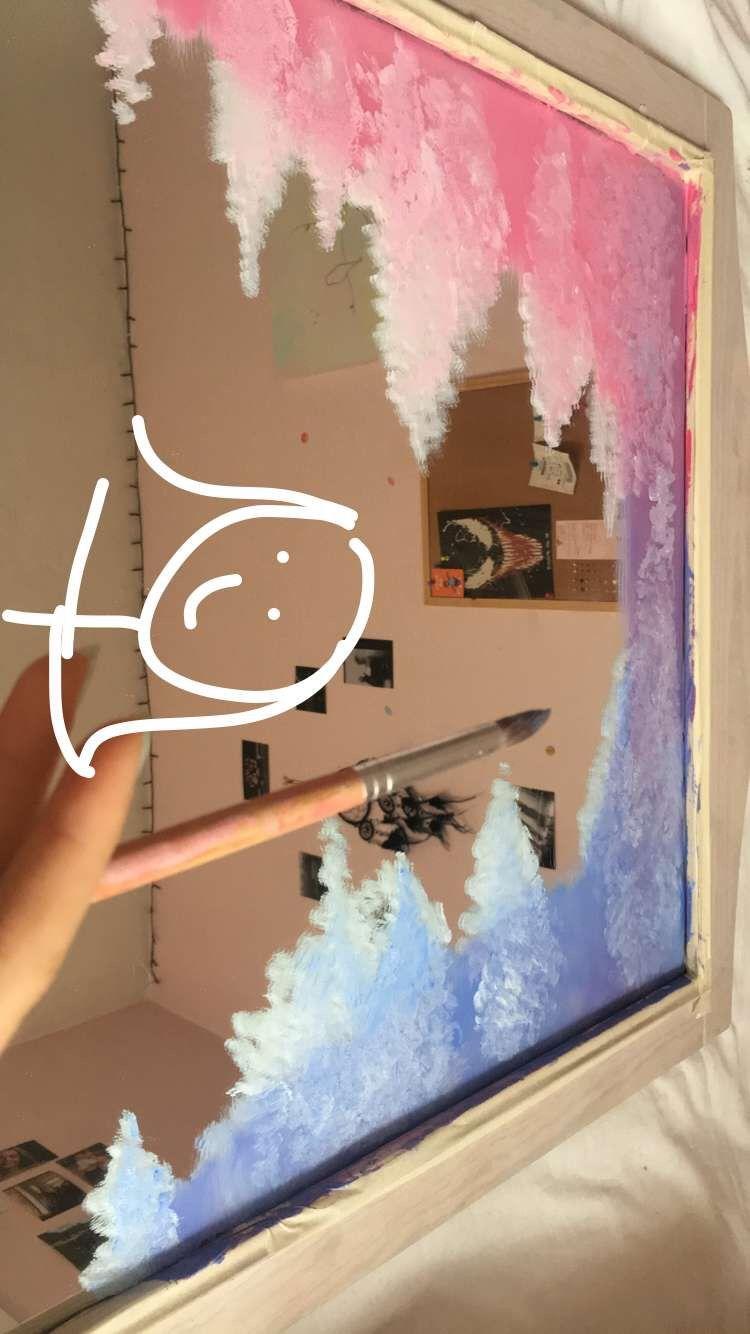 Cloud Mirror Mirror Painting Painted Mirror Diy Aesthetic Painting