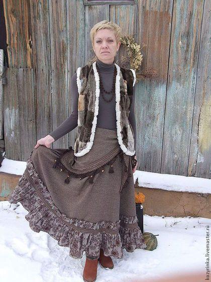 Бохо юбка зимняя