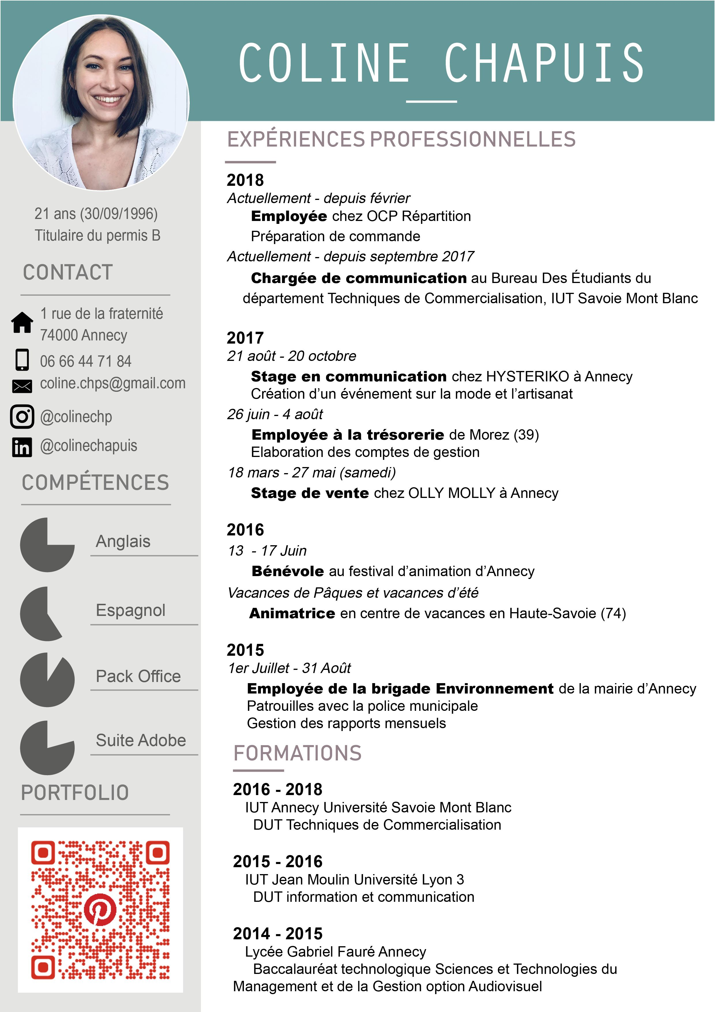 Cv Coline Chapuis Coline Permis B Commercialisation