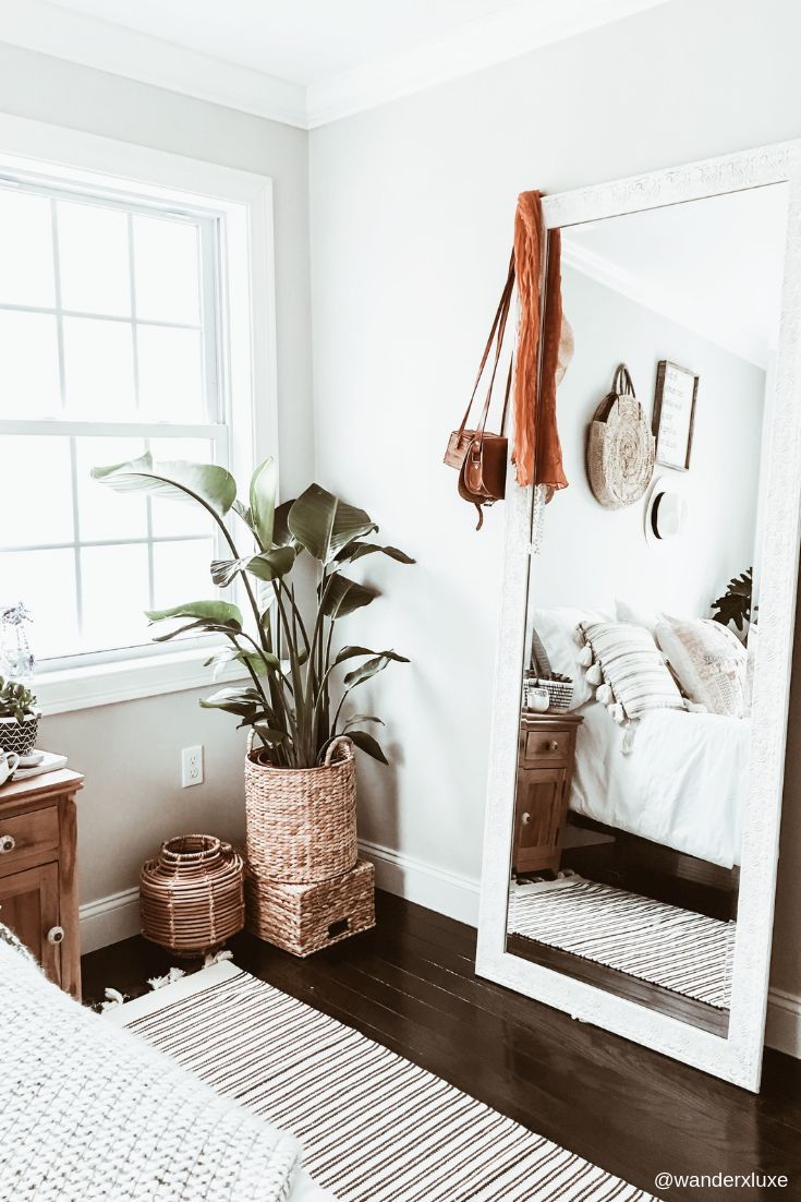 Boho Chic Bedroom Makeover. The inspirations behind this bedroom were drawn from my trips to Morocco and Bali. I wanted to feel a little bit bohemian, a little bit vintage, and a lot of fresh airy vibe. #bohobedroom