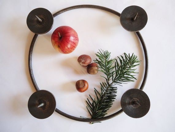 Rustic German Vintage Metal Advent Wreath Candle Holder Ring Rustic Shabby Chic Farmhouse Style Advent and Christmas Home Decor Item  Rustic German Vintage Metal Advent W...