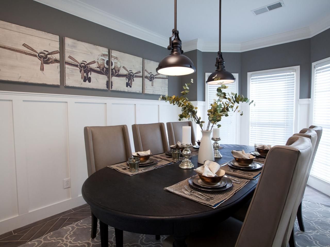 Tall wainscoting dining room - After Tall Wainscot Panels And Porcelain Tiles Laid In A Herring Bone Pattern Give This Industrial Dining Roomsgray