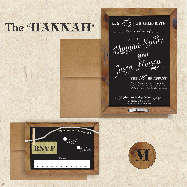 Chalkboard rustic wedding invitation suite 5x7 invitation