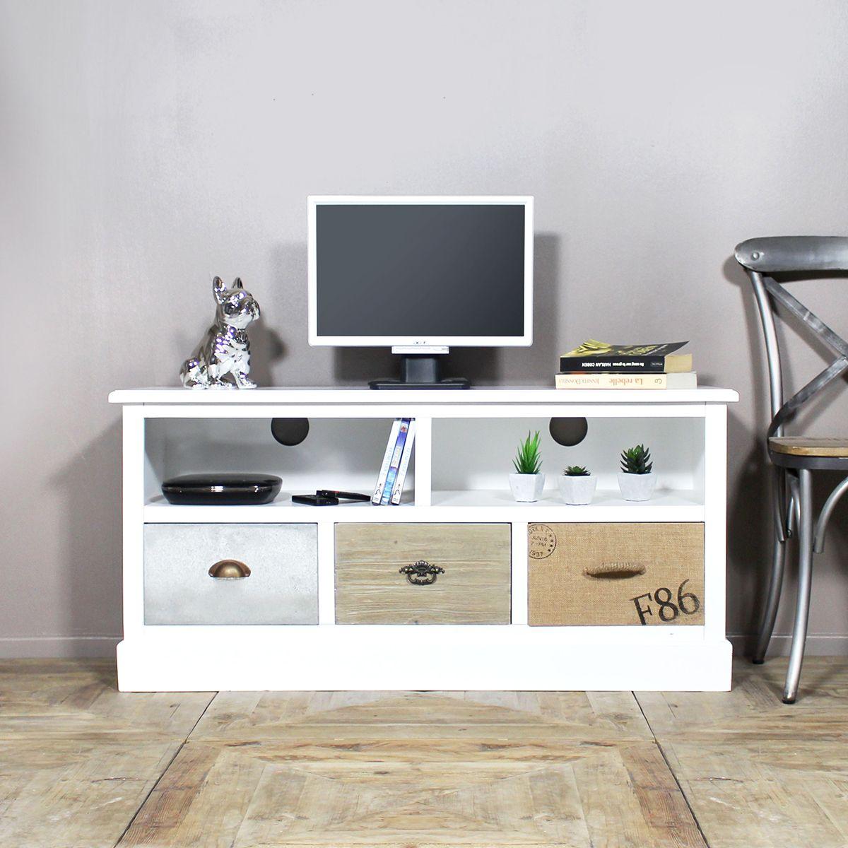 ce meuble tv bois massif blanc vous surprendra avec ses rangements aux styles originaux - Meuble Tv Bois Massif Blanc