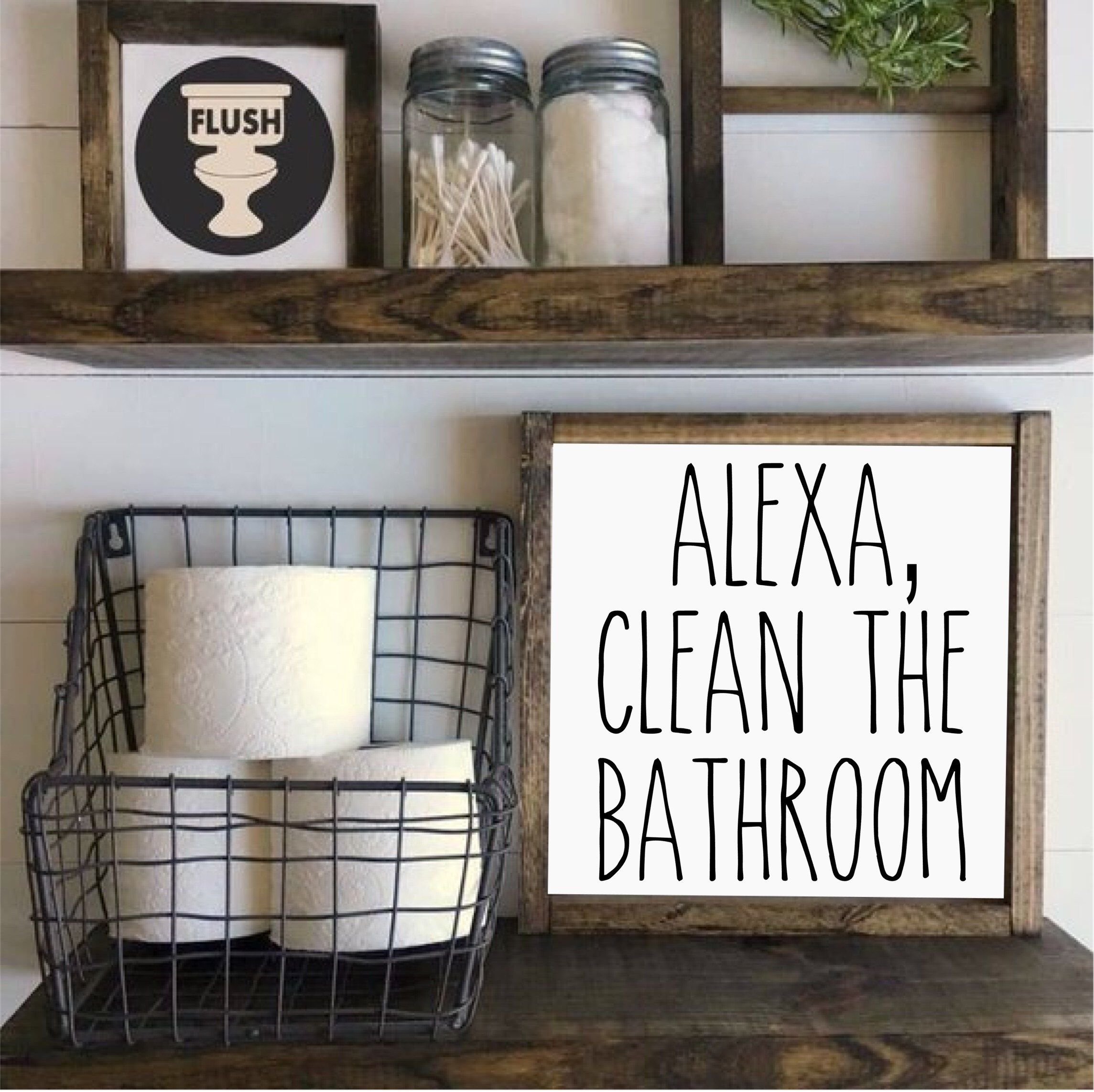 Photo of Alexa, Clean the Bathroom, Farmhouse Style Wood Sign, Framed Wood Sign, Rustic Wood Sign, Farmhouse Home Decor, Rustic Home Decor,Gifts