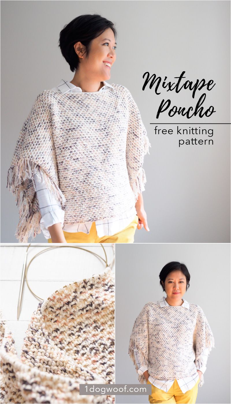 27f8a94f4 Just basic knits and purls in two different colored yarns make a beautiful  textured pattern in the Mixtape Fringe Poncho. Free knitting pattern at ...