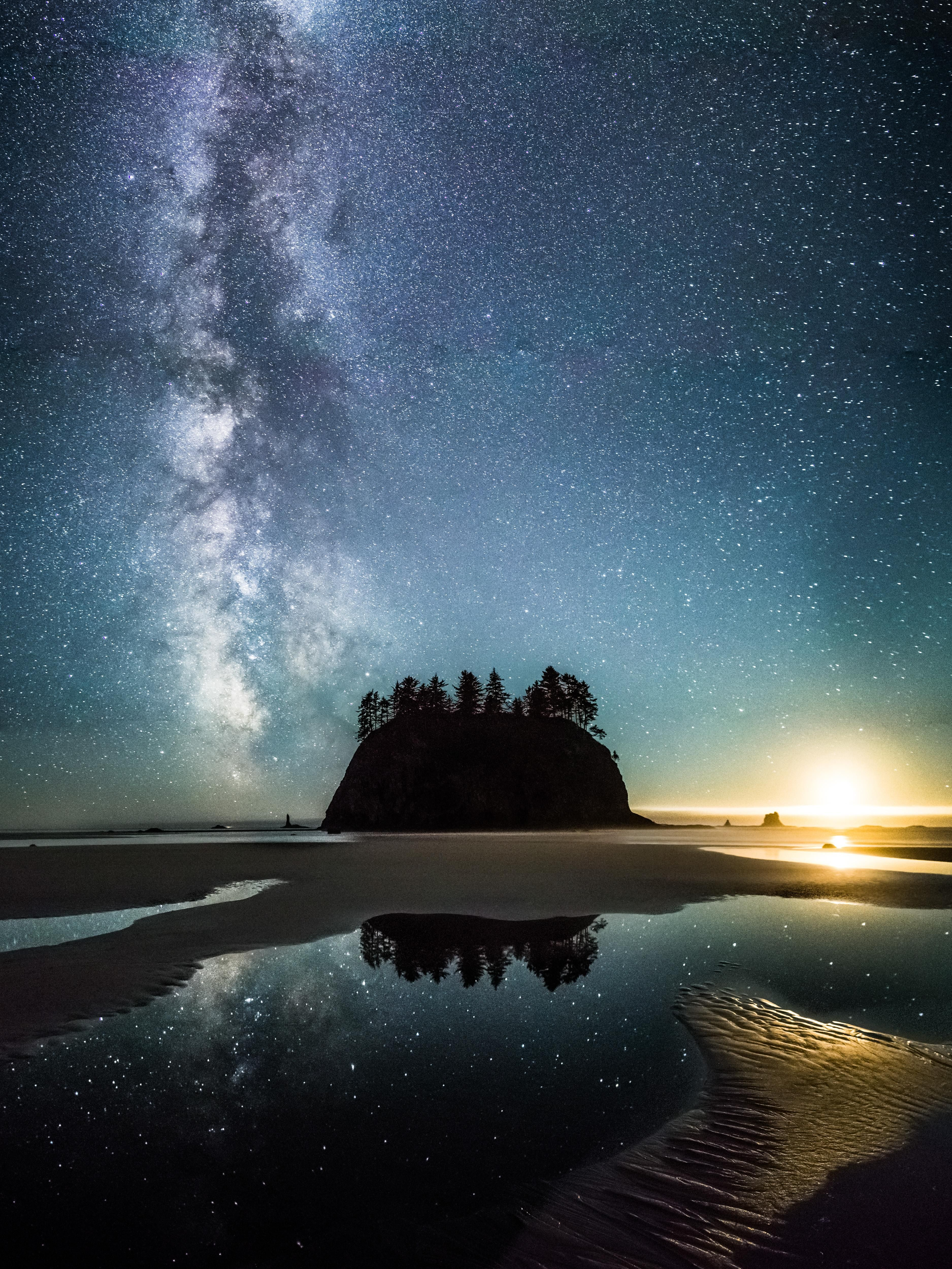 Moonset Milky Way Over Second Beach Wa 3750 X 5000 Nature Photography Travel