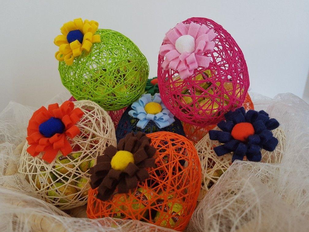 Uova di Pasqua  in filo di cotone  #Uova #Pasqua #Easter #Fiori_feltro