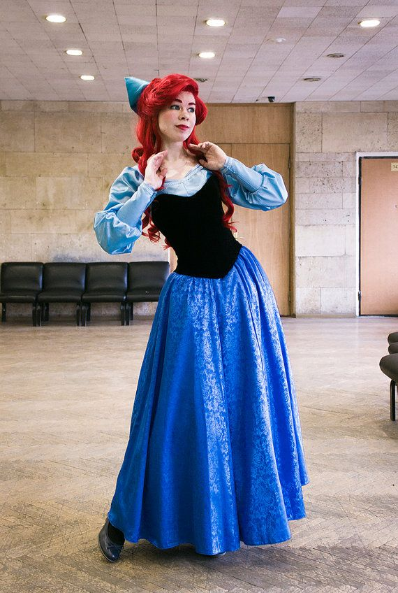 8e9930f896 Ariel blue dress Cosplay Disney Princess Halloween costume for Adult ...