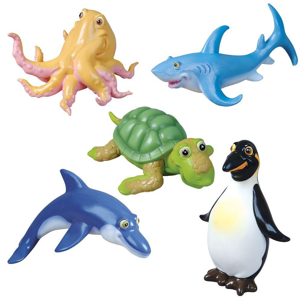 Bath Toy Buddy Dophin: 5 Sea Animal Bath Buddies Including Shark, Octopus
