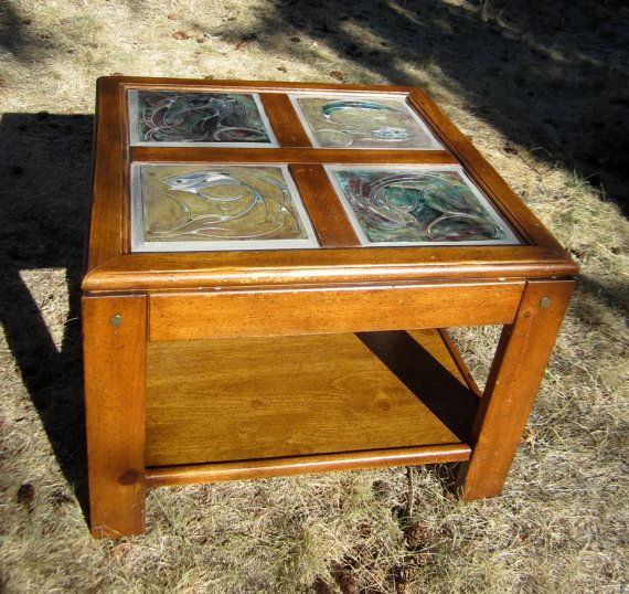 Raku Tile Inlaid Coffee Table With Arctic Grayling Designs