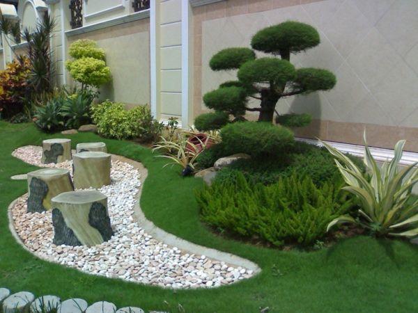 den garten mit steinen gestalten – schöne gartengestaltungsideen, Gartenarbeit ideen