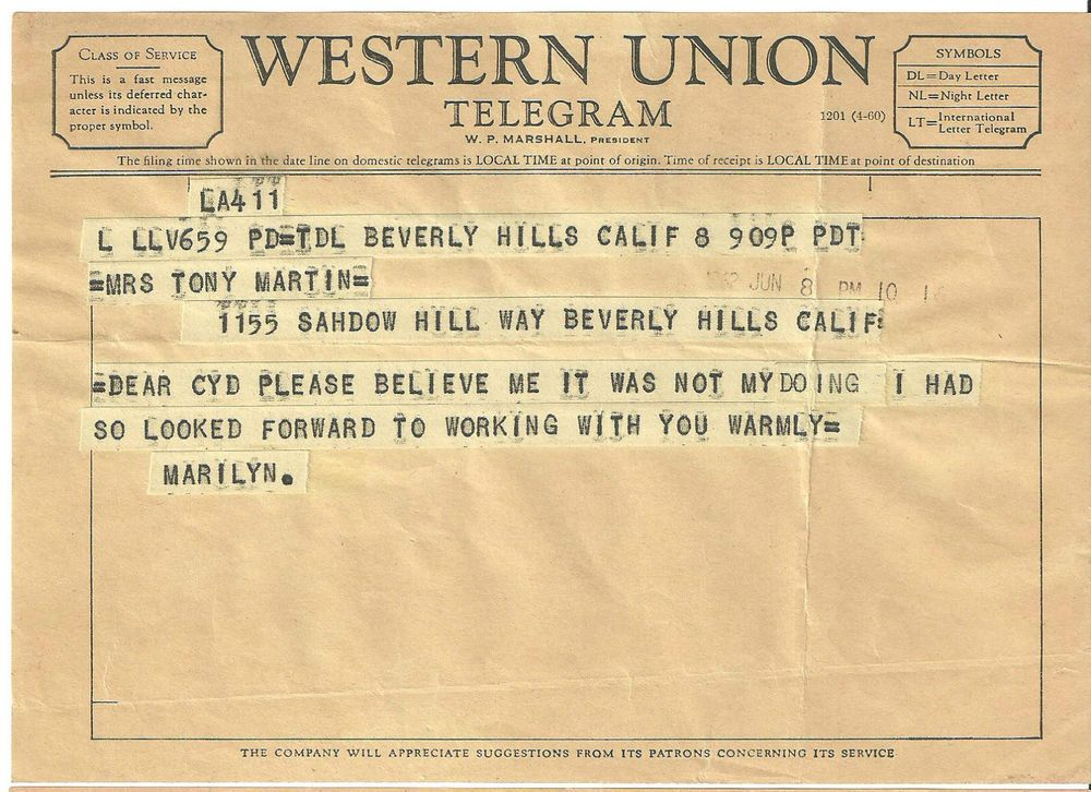 1962 Marilyn Monroe Telegram to Cyd Charisse ~ Fired from last movie