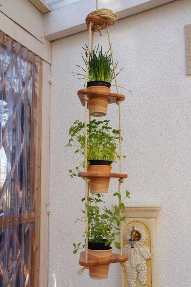 3er,kleine Blumenampel,kräuter,holz,topf D11cm | Produkte Blumenampel Selber Machen Hangekorb