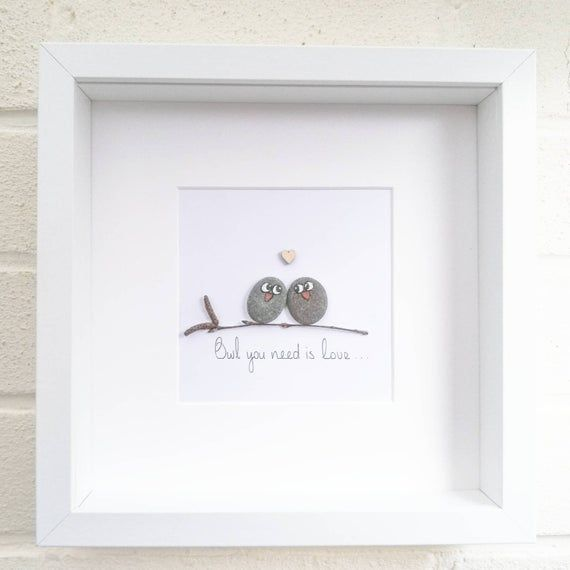 Photo of Owl Love You Pebble Art Picture gerahmt Hochzeits-Jubiläum Geburtstag Geschenk-Wohn-Dekor
