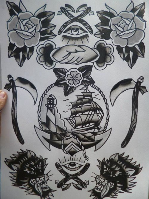 Traditional Black And Grey Tattoo: Black Traditional Tattoo