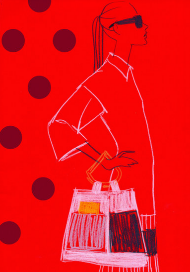 Fashion Illustration I by Aimee Levy I sketch I pencil fashion illustration I silhouette I illustration woman I bright red collage I polka dot print @monstylepin